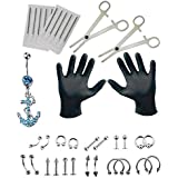 36PCS Professional Piercing Kit Stainless Steel 14G 16G Belly Ring Tongue Tragus Nipple Lip Nose Jewelry Sterile Belly Body Ring Needle Sets Cartilage Tools Body Jewelry