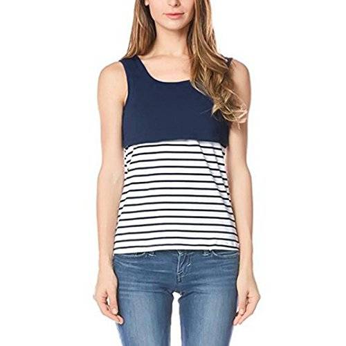 Sexyville Femme Dbardeurs Ray Impression Sans Manches Allaitement maternel Tops Gilet Chemisier Chic Tank Top Marine
