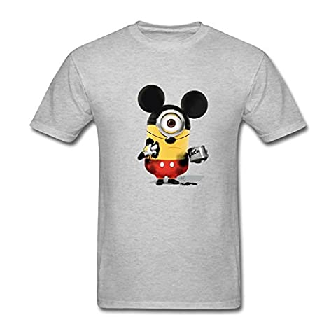 Timwood Men's Minions Mickey Mouse Short Sleeve T-Shirt Small Grey (Of Mice And Men Robert Blake)