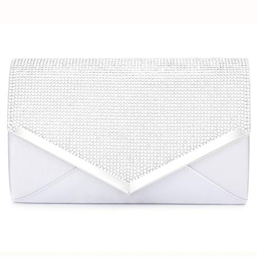 Studded Shoulder Dress - CurvChic Women Evening Bag Clutch Purse Rhinestone-Studded Flap for Wedding Prom Cocktail Party (Sliver)
