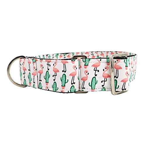 Martingale Dog Collar Nylon Safety Training Collars for Dogs Medium Large Flamingo Pattern Colar (M)