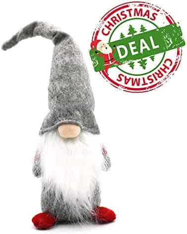 ITOMTE Handmade Swedish Gnome, Scandinavian Tomte, Nordic Christmas Nisse Figurine, Plush Toy Decorations, Yule Santa Decorations, Winter Table Desk Ornaments, Xmas Elf Gifts - 16 Inches, Grey