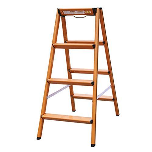- Light Folding 4 Step Aluminum Ladder Step Slip Stability Multi-Function Home Loft Library Lift/Flower Stand/Shelf/Stool - Load Capacity 150kg, Orange