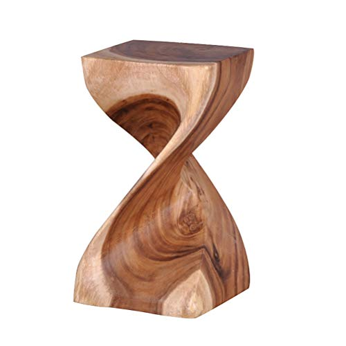 (Twist 20 inch Wood Stool, Rustic Square Top Side Table, End Table, Mahogany, Hand Carved from Solid Wood, Greatly Match with Home Furniture and Bar Tables (Size : 11 11 20 inch))