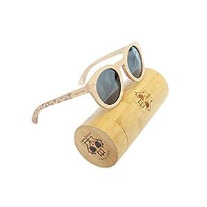 Canada Robby's Maple Wooden Sunglasses UV400 Polarized, Round Cat Eye Frames, with Bamboo Case - Maple Shades