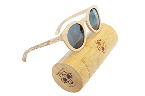 Canada Robby's Maple Wooden Sunglasses UV400 Polarized, Round Cat Eye Frames, with Bamboo Case - Maple - Sunglasses Canada Cat Eye