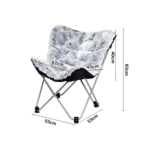 (Be&xn Butterfly Chair, Easy Leisure Folding Chair Lounger Armchair Seat Lounge Chair Recliners Moon Chair-White L53xH83cm(21x33inch))