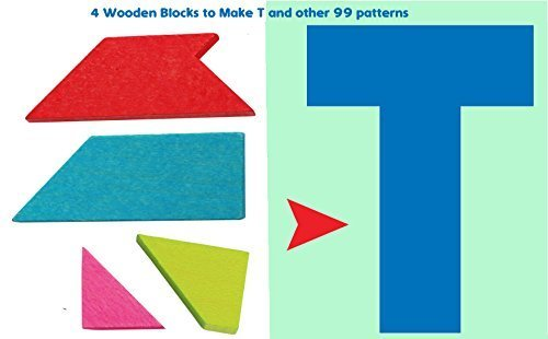 Toys of Wood Oxford Wooden Tangram Puzzle -Tangram T Puzzle 4 pieces with 100 solutions - wooden brain teaser puzzle