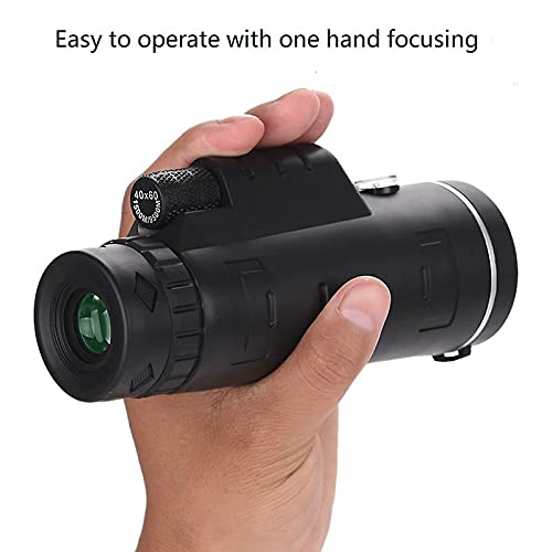 H-THINK Monocular Telescope, 40X60 High Definition Monocular and Smartphone Holder & Tripod, high Power Monocular with Durable and Clear BAK4 Prism for Bird Watching,Camping, Hiking (Telescopic stand)