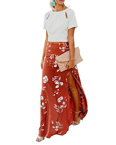 Imily Bela Womens High Waisted Chiffon Flowy Vintage Skirts Side Split Long Maxi Bottom (X-Large, Y-Orange)