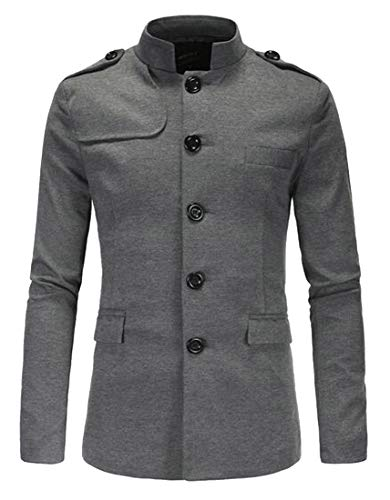 Fubotevic Men's Single Breasted Casual Business Mandarin Collar Blazer Jacket Sport Coat Grey M