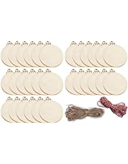 """30pcs Large Round Wooden Discs with Holes,4.7*4"""" Unfinished Predrilled Natural Blank Wood Slices,For DIY Crafts Centerpieces Wedding Decorations Christmas Ornaments Arts,3 one-meter twine random color"""