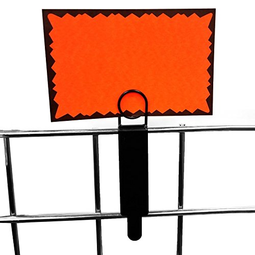 Black Metal Gridwall Sign Holder, Card Grip for Gridwall & Slat Grid Panels - 2 Pack (Panel Sign Holder)