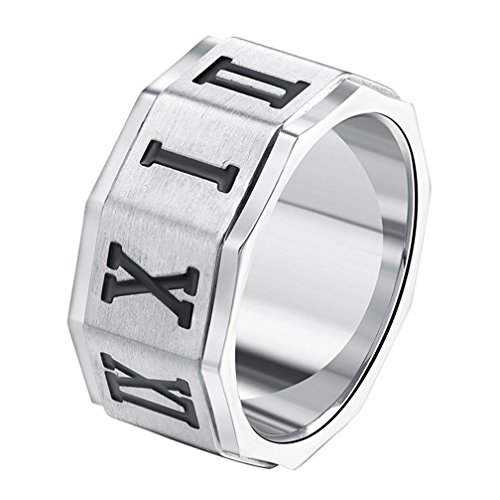 INRENG Men's 10MM Stainless Steel Roman Numerals Biker Ring Wedding Band Silver Size ()