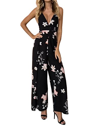 YNC Fashion Women's Summer Beach Floral Print Spaghetti Strap Wide Leg Party Jumpsuits Long Pants,Medium,Black by YNC Fashion (Image #5)