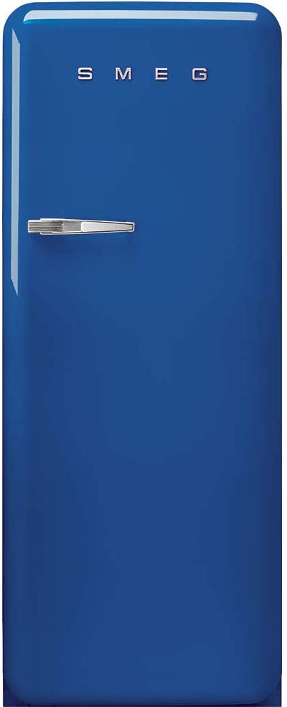 Blue Right Hand Hinge Smeg FAB28 50s Retro Style Aesthetic Top Freezer Refrigerator with 9.92 Cu Total Capacity Multiflow Cooling System Adjustable Glass Shelves 24-Inches