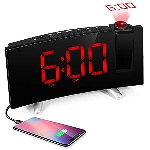 SKM Reloj Despertador de Proyección Digital Radio FM Reloj de Viaje Reloj de Cabecera Proyector Giratorio Alarma Doble Función de Despertador (Rojo) 1