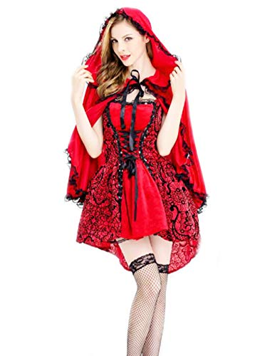 SHANSHAN Women's Gothic Little Red Riding Hood Costume Halloween Cosplay Fancy Dress -