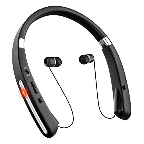 Bluetooth Headphones, Retractable Bluetooth Headset, myfree [30 Hours Playtime] Neckband Wireless Bluetooth Headphones Waterproof with mic Compatible for All Cellphones (black)