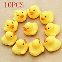 Hot Sale!DEESEE(TM)10PC Squeezing Call Rubber Duck Ducky Duckie Baby Shower Birthday Favors