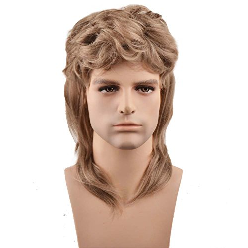 [RightOn 16'' New Stylish Men's Mullet Wig Costume Disco Party Synthetic Wigs Hairnet Included] (Mullet Costumes Wig)