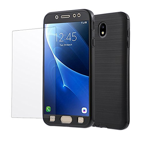 Galaxy J5 Pro Case, 360 Degree Full-body Protective Slim Wireless Charging TPU & PC Case with Tempered Glass Protector for Samsung J5 Pro J530 2017 (Black)