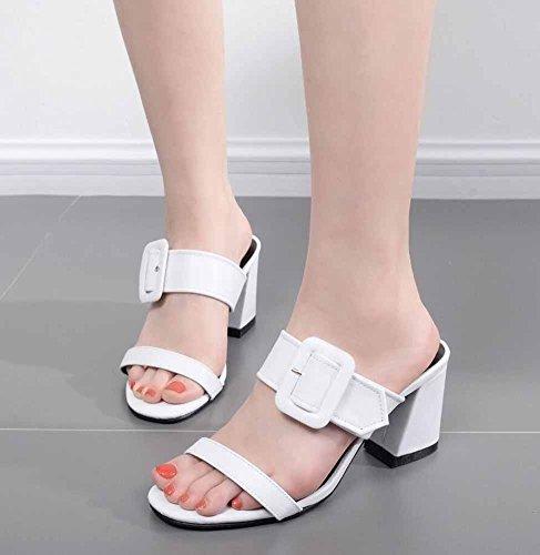 GLTER High heel Pattini Sandali Nuovi Donne White Cinghia Dell'inarcamento Freddi Sandali Romani Della 2017 Muli zqwzWrS8