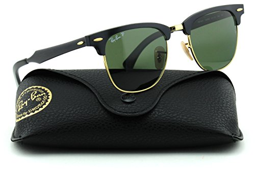 Ray-Ban RB3507 CLUBMASTER ALUMINUM Unisex Sunglasses (Black Frame/Green Polarized Lens 136/N5, - Clubmaster Ray Vintage Ban