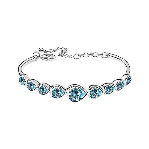 Eastlion Crystal Ladies Bracelet Fashion Heart-shaped Bracelet Creative Hand Jewelry,Blue by Eastlion (Image #1)