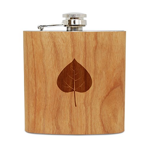 WOODEN ACCESSORIES COMPANY Cherry Wood Flask With Stainless Steel Body - Laser Engraved Flask With Aspen Leaf Design - 6 Oz Wood Hip Flask Handmade In USA