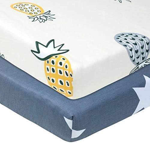 Novarena Sábanas de cuna de alta calidad de 28 x 52 pulgadas, 100% algodón orgánico, paquete de 2 sábanas de colchón para cuna para bebé, se adapta a colchón estándar para bebé