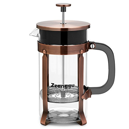 French Bronze (Zzanggu French Press Coffee Maker Tea Pot with Heat Retention Double Wall Stainless Steel Filter and Durable Glass (34oz, 1L), Bronze)