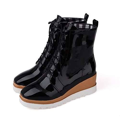 AllhqFashion Womens Solid Kitten-Heels Closed Round Toe PU Lace-up Boots Black 0fmGWRWpn3