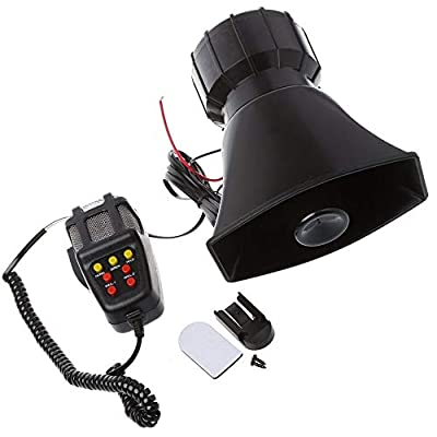 SIZZLEAUTO 100W 135dB 7 Tone Car Truck Siren Emergency Sounds Electric Horn with Mic PA Microphone Speaker System Amplifier - Hooter/Blaring Police/Ringing Fire Alarm/Ambulance/Siren/Traffic Sound