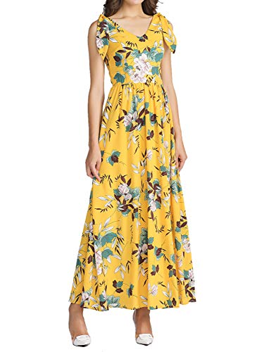MUADRESS 8001 Women's Sleeveless V Neck Floral Maxi Prom Dress Beach Wedding Dresses Yellow Medium