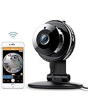 Caméra de Sécurité, FREDI 1080P WiFi Panoramique Caméra de Surveillance,180 Degrés Grand Angle Caméra sans Fil avec Audio Bidirectionnel, Détection de Mouvement, Vision Nocturne, Interphone (Blanc)