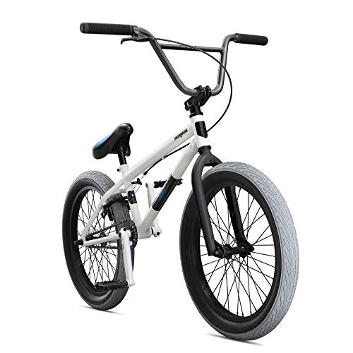 Mongoose Legion L40 Freestyle BMX Bike for Intermediate Riders, Featuring Hi-Ten Steel Frame and Micro Drive 25x9T BMX Gearing with 20-Inch Wheels, White (White Bike Bmx Frame)