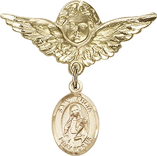 14kt Gold Filled Baby Badge with St. Lucia of Syracuse Charm and Angel w/Wings Badge Pin St. Lucia of Syracuse is the Patron Saint of Eye Diseases/Writers 1 1/8 X -