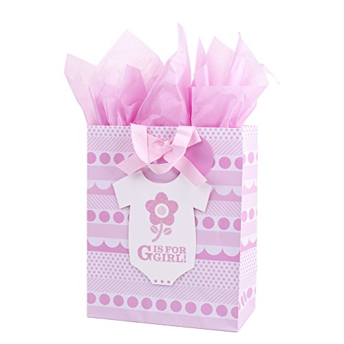 Hallmark Large Baby Gift Bag with Tissue Paper (G is for Girl)