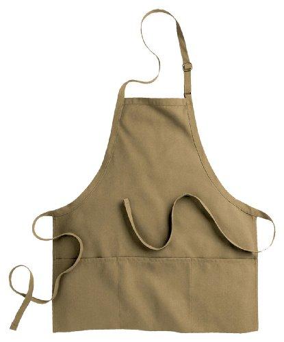 Edwards Garment Three Divisional Pocket Bib Apron, Khaki, One Size