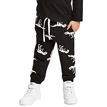 HUAER& Baby Boy's Jogger Pants Dinosaur Car Animal Print Drawstring Elastic Sweatpants (1-Pack 2-Pack) - Black - 2T(height85-90cm/33-34inch)