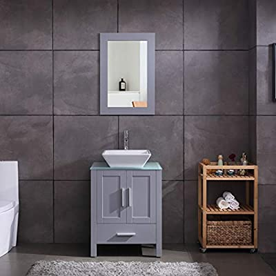 "24"" Grey Bathroom Vanity Cabinet and Sink Combo Glass Top MDF Wood w/Sink Faucet &Drain Set - Environmental-friendly MDF wood material cabinet with oil paint on it, durable, stable and water-proof. Main cabinet size: 19*24*30 inch (L×W× H) . Sink size: 16.5 in*5.5(L×W× H), Sink thickness:0.5 inch. Faucet height:12 inch 1.5 GPM faucet help you save much water, prevent water splashing. - bathroom-vanities, bathroom-fixtures-hardware, bathroom - 41pm1LLYhrL. SS400  -"