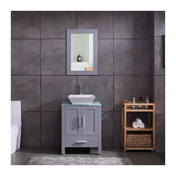 """24"""" Grey Bathroom Vanity Cabinet and Sink Combo Glass Top MDF Wood w/Sink Faucet &Drain Set - Environmental-friendly MDF wood material cabinet with oil paint on it, durable, stable and water-proof. Main cabinet size: 19*24*30 inch (L×W× H) . Sink size: 16.5 in*5.5(L×W× H), Sink thickness:0.5 inch. Faucet height:12 inch 1.5 GPM faucet help you save much water, prevent water splashing. - bathroom-vanities, bathroom-fixtures-hardware, bathroom - 41pm1LLYhrL. SS570  -"""