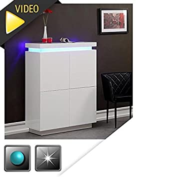 Generique Flash Buffet Haut Blanc Laque Avec Led Bleue Amazon Fr