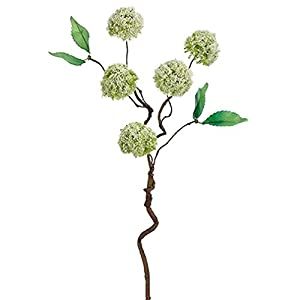 "18"" Handwrapped Silk Mini Snowball Flower Spray -Cream/Green (Pack of 12) 24"