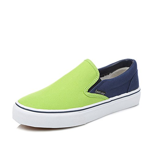 Verano estudiantes de ocio mezclado colores lona zapatos mujeres/Lok Fu perezosos pies zapatos/Zapatos de color caramelo con plano Chao B