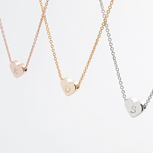 SAME DAY SHIPPING TIL 2PM CDT A Tiny Heart Initial Necklace – 16K Gold or Silver Plated Handstamped Delicate Initial Personalized Heart Necklace bride…