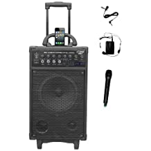 Pyle-Pro 500W Wireless Rechargeable Portable PA System with iPod Dock, FM/USB/SD, Handheld and Lavalier Microphones PWMA890UI