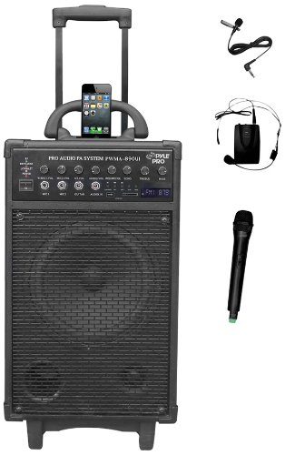 "Pyle Pro 500 Watt Outdoor Portable Wireless PA Loud speaker - 8"" Subwoofer Sound System with iphone Charge Dock, Rechargeable Battery, FM Radio, USB/SD Reader, Microphone, Remote, Wheels - PWMA890UI"