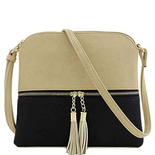 (Lightweight Medium Crossbody Bag with Tassel (Sand/Black))